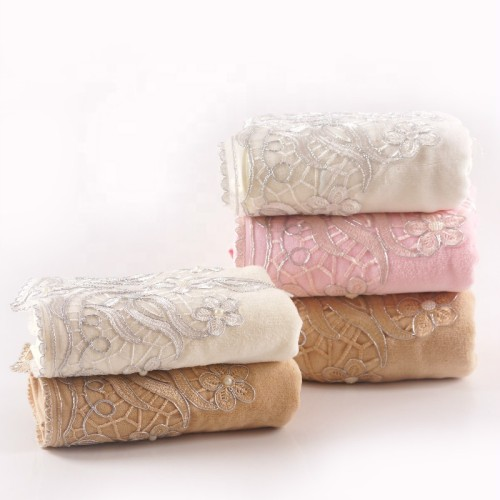 100% cotton velvet towel with beautiful lace and pearl silver thread ,luxury good quality gift towel