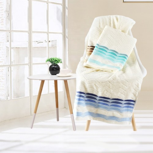 100% cotton colourful wave jacquard yarn dyed satin gear towel,factory supply, reusable.