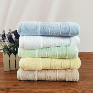Jacquard funny western border dobby plain colour towel 100% cotton,factory supply.
