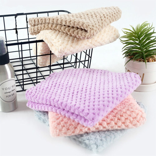 Solid color coral plush Towels Kitchen towels are super absorbent and reusable.