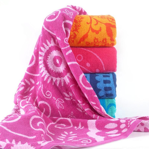 Dyed yarn jacquard large beach towel,100% cotton,good design,factory supply, reusable.