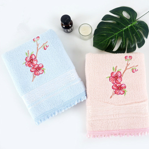 100% cotton flower jacquard border with beautiful flower embroidery and lace