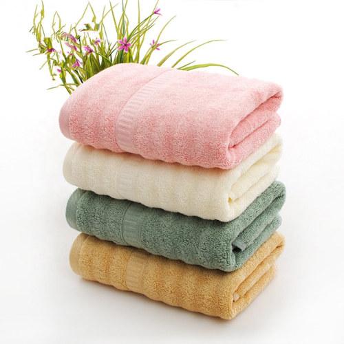Soft luxury jacquard border towel wave bamboo fiber plain colour bath towel,customizable design,cotton towel