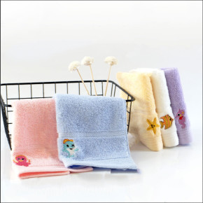 100% cotton small size children embroidery ocean animal soft towel,factory supply, reusable.