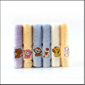 100% cotton children towel light colour soft good design with embroidery twelve chinese zodiac signs