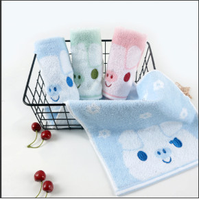 100% cotton children towel light color soft texture, embroidered pig, rabbit, bear,reusable