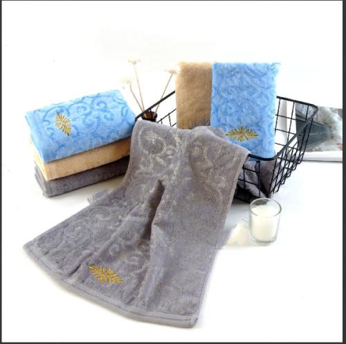 Bamboo cotton blended jacquard velvet towel set luxury embroidery,100% Cotton,reusable.