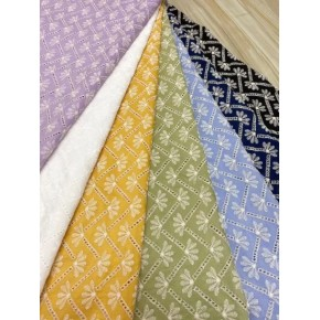 7 Colors Lace Embroidery 100%Cotton Embroidery Fabric for Dress and Cloth Eyelet Embroidery Fabric