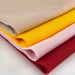 Custom Women′s Stretch Clothing Material Cloth 96% Cotton 6% Spandex Knit Solid Color 2X2 Rib Fabric