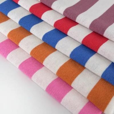 Wholesale Spot Supply Yarn Dyed T Shirt Cloth 100 OE Cotton Knit Single Jersey Stripe Fabric