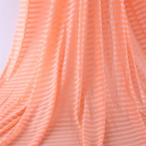 Yigao Textile 26s CVC60*40 Polyester Cotton Knitting Striped Single Jersey Fluorescent Orange Garment Fabric.