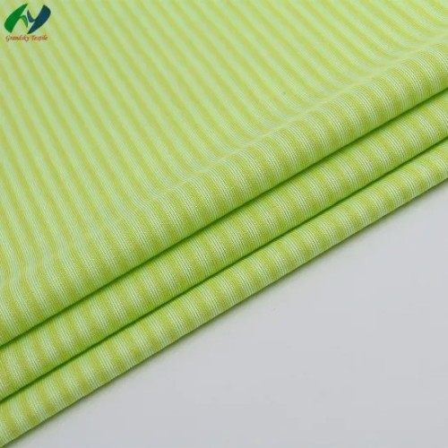 Combed Cotton Polyester T400 Tc Elastic Force Fabric Fashion Shirt Fabric 4*4 Knitting Stripe Fabric
