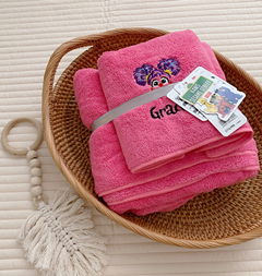 Softer plain color microfiber  towel,coral fleece quick dry towel with children cartoon embroidery