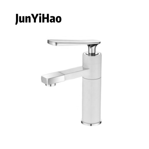 Washbasin faucet factory price 5 years guarantee brass chrome plated white cold hot basin faucet