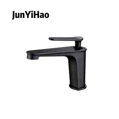 Bathroom single handle black proof brass basin faucet Gun dust light luxury wind