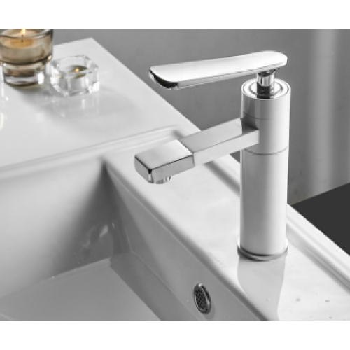 Factory price 5 years guarantee brass chrome white basin faucet