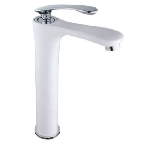 Modern style bathroom wash basin mixer brass single chrome handle white faucet