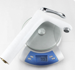 Modern style bathroom wash basin mixer brass single chrome handle white faucet