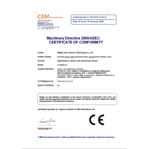 Machinery Directive 2006/42/EC  CERTIFICATE OF CONFORMITY