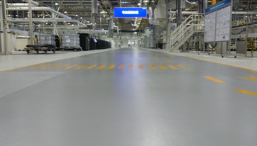 Three-component high solids aliphatic polyurethane covered floor
