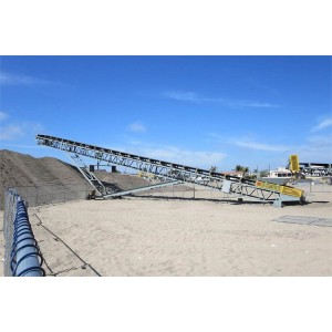 mobile design radial belt conveyor solution by using movable wheel