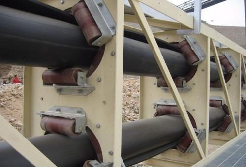 KP Pipe Belt Conveyor المستخدم في الفحم وحجر الخام المعدني والحبوب والأسمنت