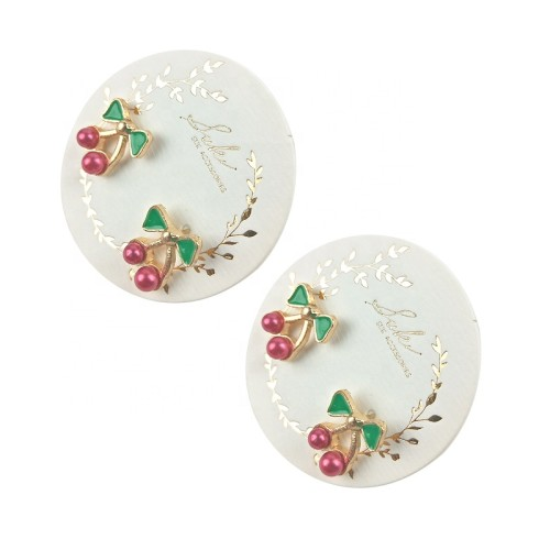 White Round Paper Earrings Earring Frame Cards Necklace Jewelry Display Cards