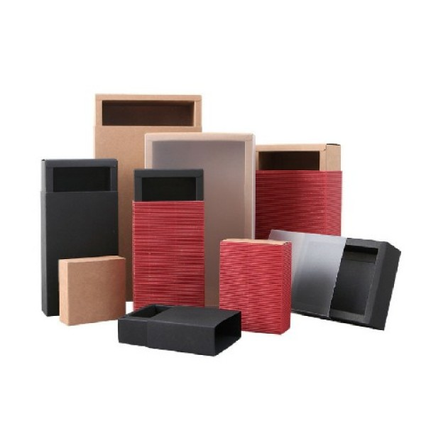 Cardboard Black and White Kraft Paper Foldable Sliding Drawer Gift Box