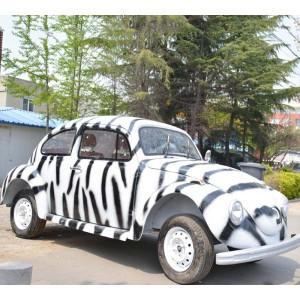 vintage food truck with zebra-stripe prints