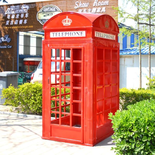 vintage telephone booth in bright red color Chinese food truck manufacturer