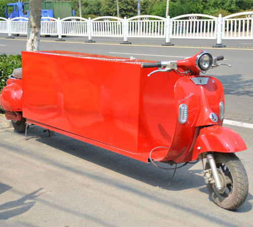 vintage food tricycle in bright red color from Chinese food truck manufacturer