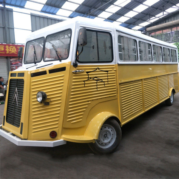 citroen retro food truck in bright yellow color large room for business