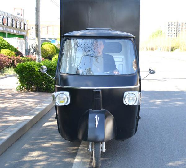 retro popular food truck classic piaggio in black