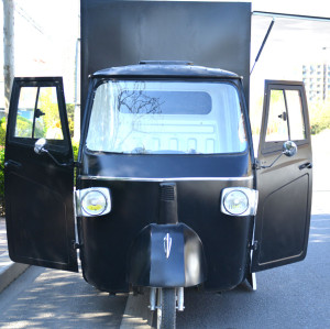retro popular food truck classic piaggio in black