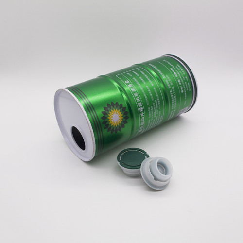 tall tin can tin with clear lid,round metal tin box for oil can