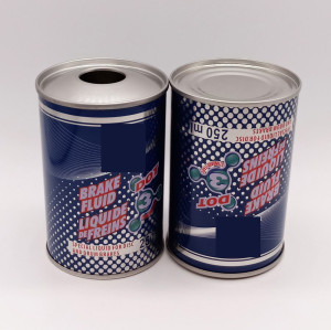 100 ml to 1L dot 3 and dot4 empty round metal tin can for brake fluid