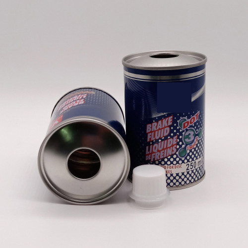 Chemical can brake fluid metal can round brake oil container