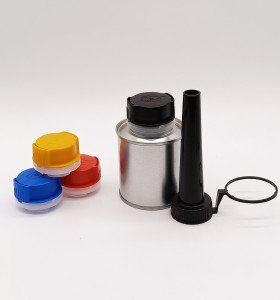 2020 hot sales 100ml round chemistry tin cans with 32mm plastic funnel aerosol spout cap