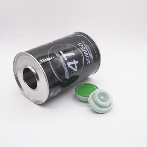 800ml 1L metal tin can for motor oil petrol oil with 42mm red plastic cap