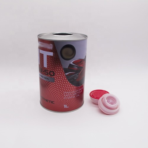 Round oil can shape the tin box of engine oil