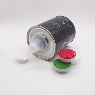 100ml to1L OEM logo printed Round metal container can with spout for hot oil