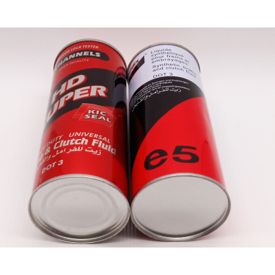 250ml 500ml Round empty brake fluid oil lubricant can metal tin bottle with plastic cap