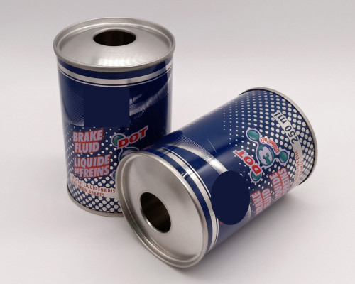 Accept CYMK printed round can with plastic cap for brake oil fluid
