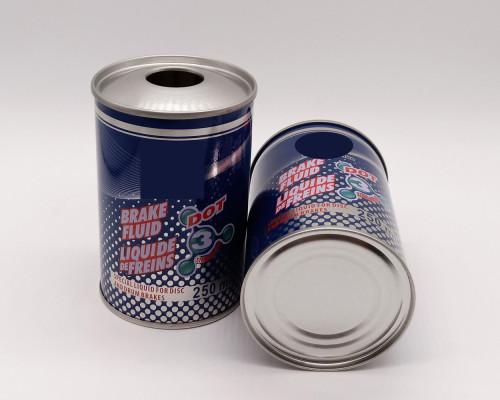 250ml 500ml 1l CMYK printing empty brake fluid oil can round metal packaging can