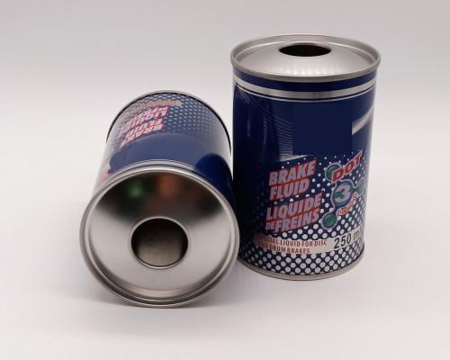 Empty brake fluid oil can tinplate with plastic screw top cap