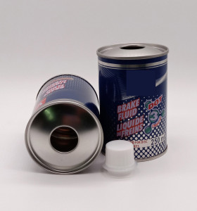 Metal round brake fluid tin can brake oil lubricant bottle with screw top cap