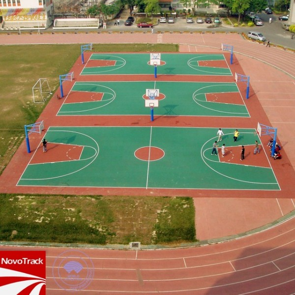 Chinese famouse recycled synthetic playing surfaces supplier Novotrack with IAAF