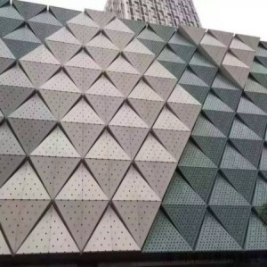 PVDF painting aluminum veneer  triangle curtain wall profile