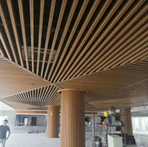Open Design Aluminum Baffle Ceiling / Decorative Waterproof Wood Planks Grain Look Drop Ceiling Tiles