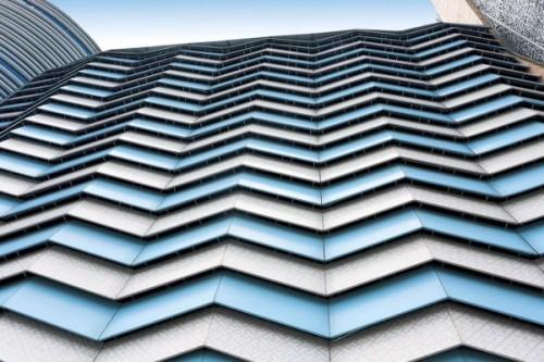 PVDF painting aluminum veneer  triangle curtain wall panels 3d